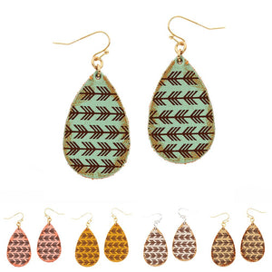 Aztec Stamp Leather Teardrop Earring
