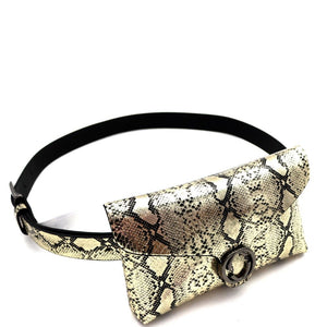 Buckle Accent Metallic Snake Print Fanny Pack with Belt