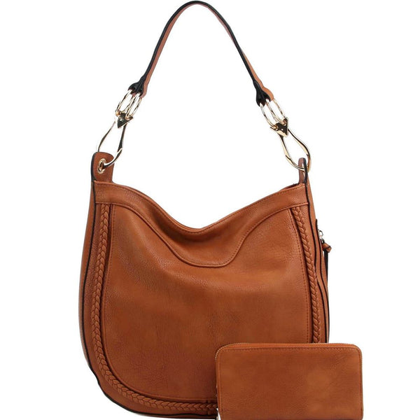 Braid Accent Large Hooked Single Strap Hobo Bag and Wallet SET