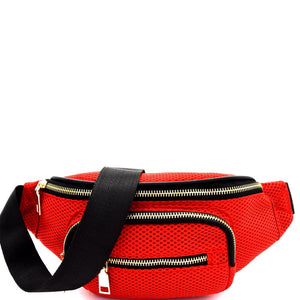 Meshed Fabric Sporty Fanny Pack