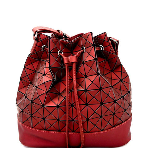 Matte Geometry Patchwork Drawstring Bucket Shoulder Bag