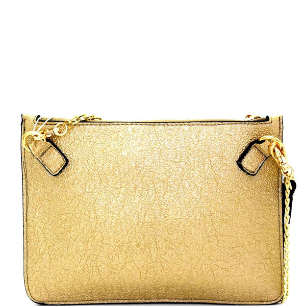 Metallic Wristlet Clutch with Card Slots