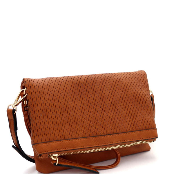 Perforated Fold-over Flap 3-Way Clutch Cross Body Bag