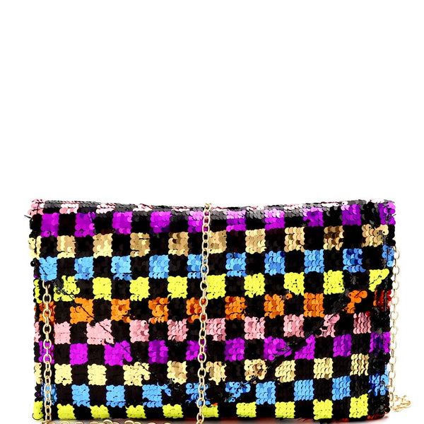 Multi-colored Checker Pattern Sequin Envelope Clutch