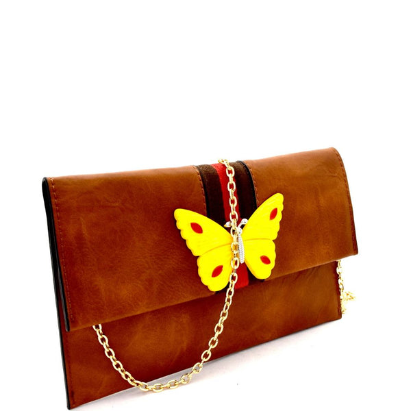 Butterfly Charm Color Block Striped Clutch Shoulder Bag