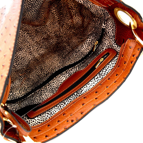 Side Ring Large Hooked Ostrich Hobo Wallet SET