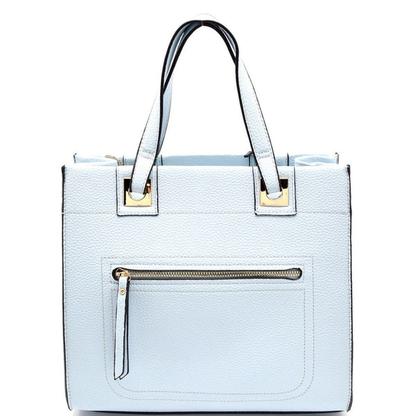 Pocket Accent Structured PU Leather Satchel Bag
