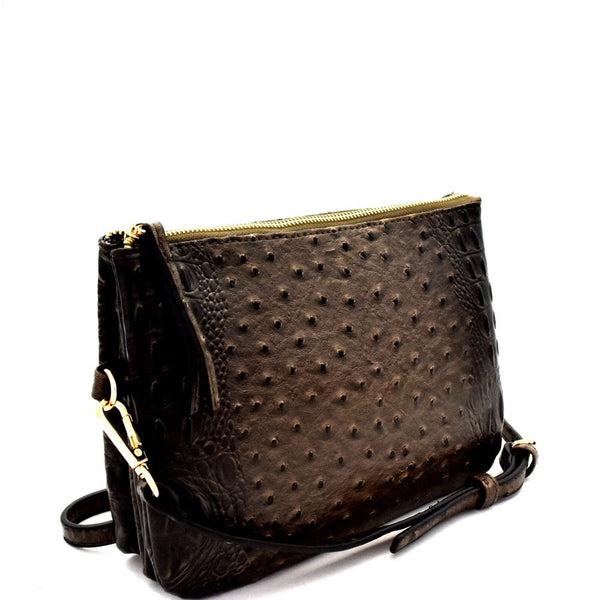 Ostrich Embossed 5-Compartment Cross Body Bag