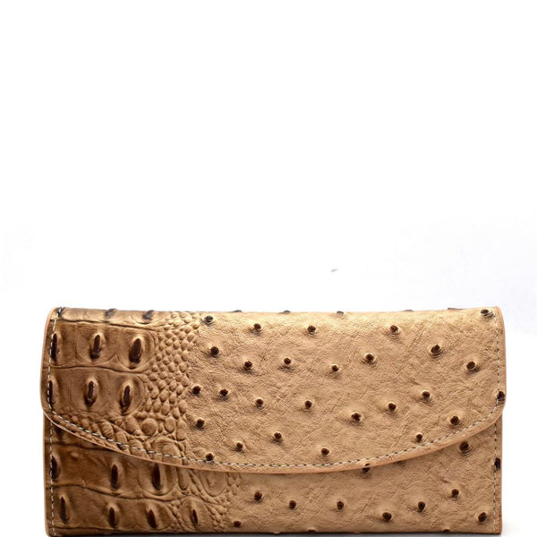 Ostrich Print Embossed Soft PU Leather 15-Card-Slot Slim Trifold Wallet with Checkbook Holder