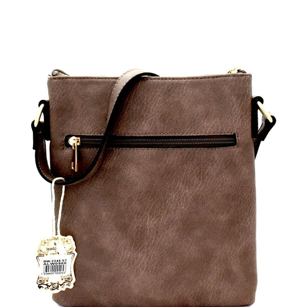 Tassel Accent Multi-Pocket CrossBody Messenger Bag