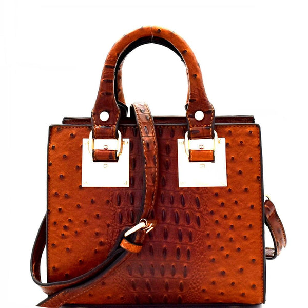 Ostrich Embossed Medium 2-Way Structured Satchel Bag