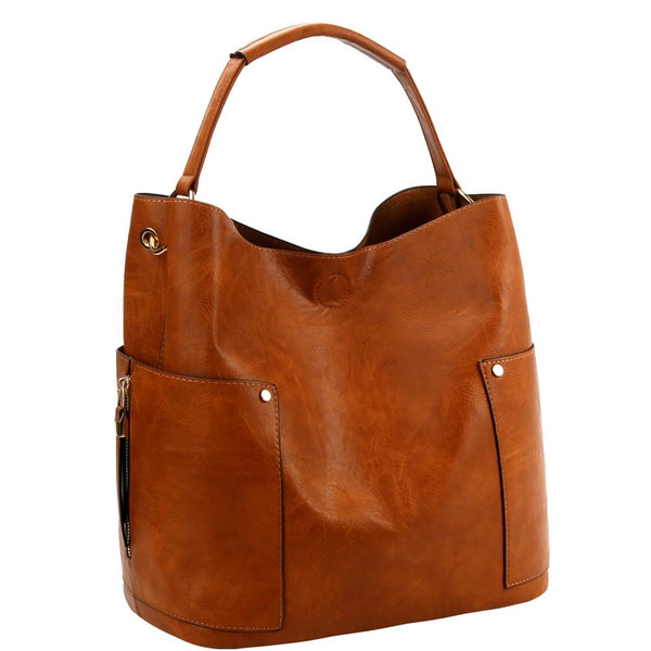 Side Pocket 2 in 1 PU Leather Hobo Bag with pouch SET