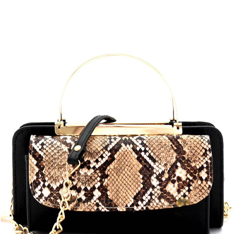 Snake Print Metal Handle Cellphone Cross Body Organizer