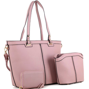 Classy PU Leather  3 in 1 Shopper Tote with Crossbody and Wallet Value SET