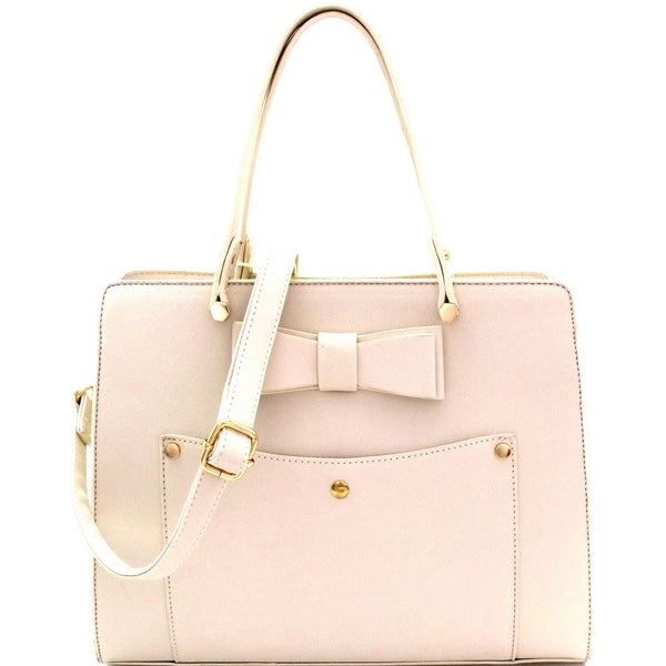 Bow Accent Structured 2-Way PU leather Satchel Purse