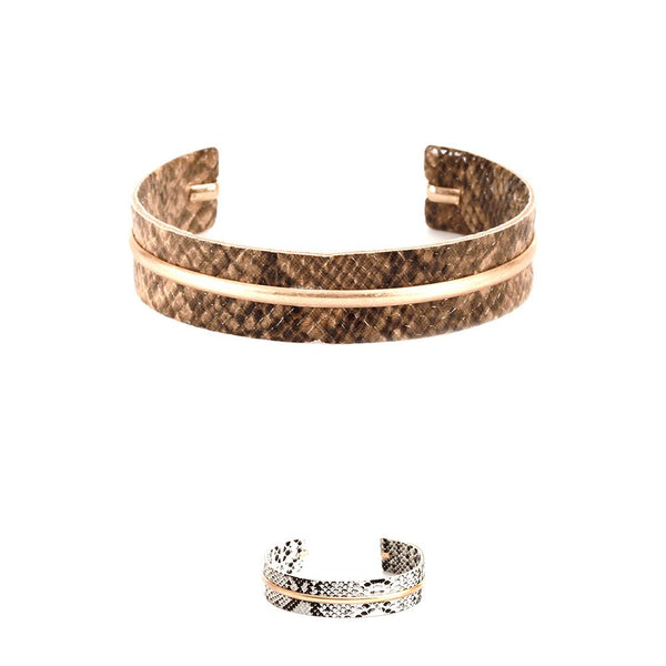Metal Accent Snake Print Leather Open-cut Bangle Bracelet