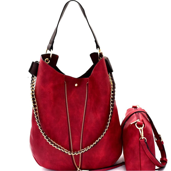 Chain Accent PU Leather 2 in 1 Expendable Hobo Purse with Crossbody Bag