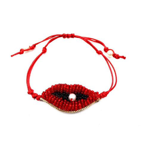 Bead and Pearl Lip Novelty Bracelet