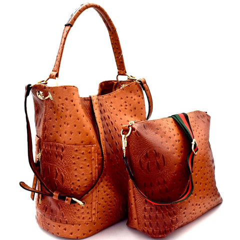 Ostrich Embossed Side Pocket 2 in 1 Tall Hobo and Crossbody SET