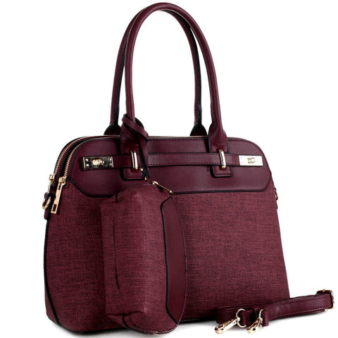 Turn-Lock Accent 3-Compartment Linen 2 in 1 Tote Value SET