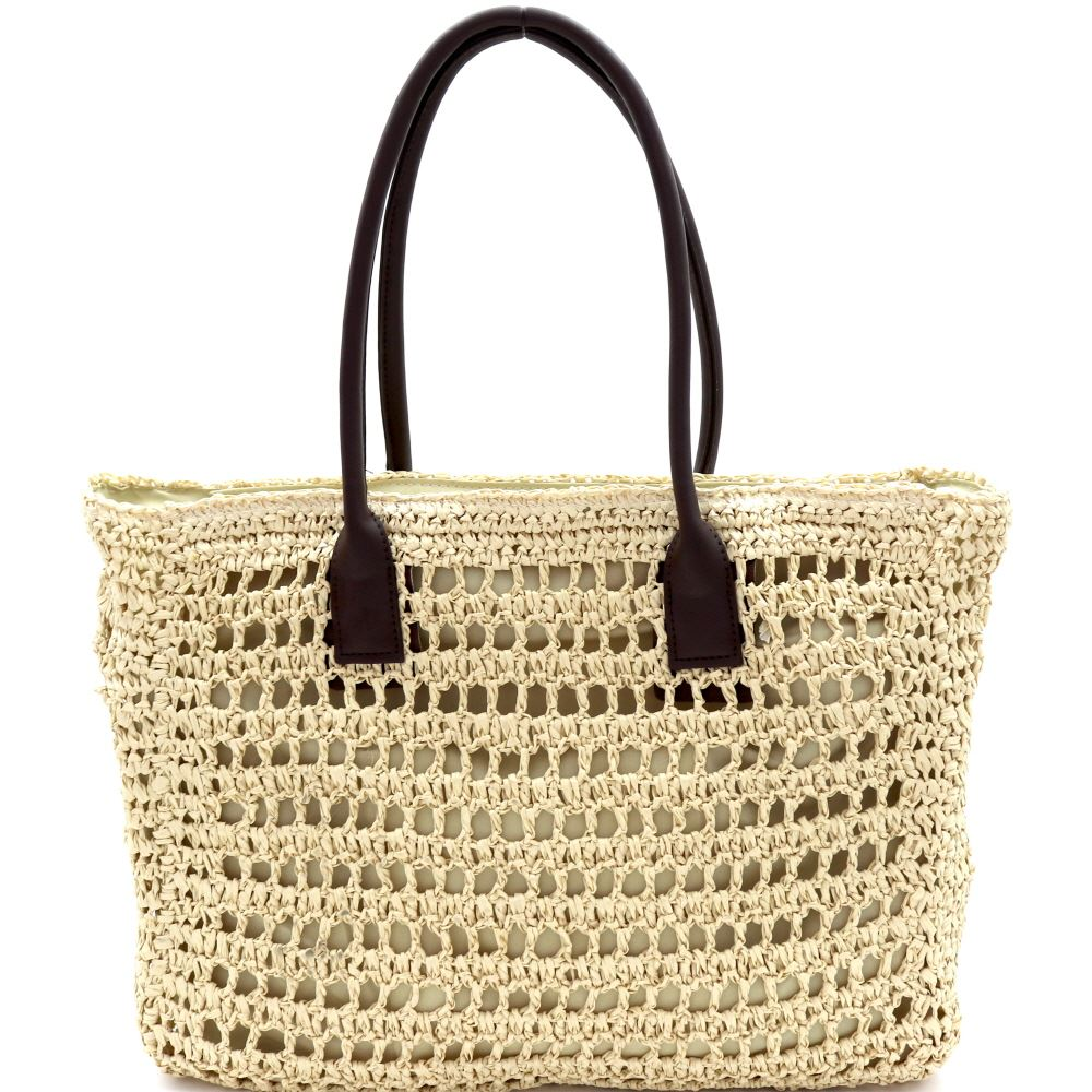 c909f5cd45d Knitted Straw Two-Tone Oversized Shopper Tote Bag