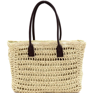 Knitted Straw Two-Tone Oversized Shopper Tote Bag