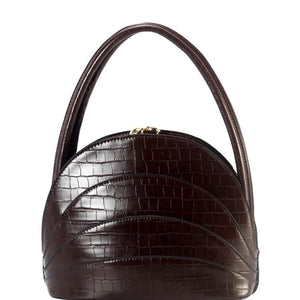 Crocodile Print Kiss-Lock 2-Way Medium Frame Satchel
