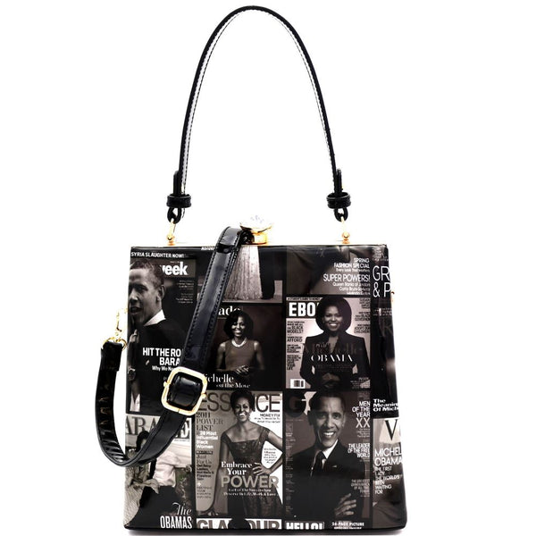 Michelle Obama Magazine Print Patent Jewel-Top Frame 2-Way Satchel Bag