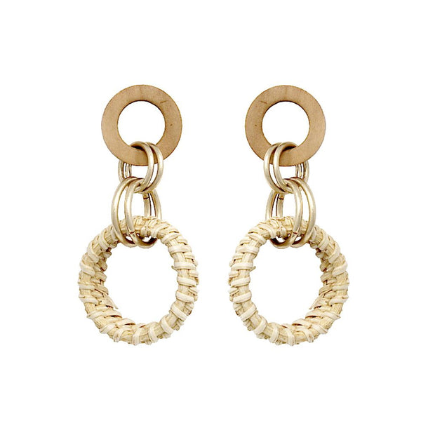 Wooden Metal Straw Linked Hoop Post Earring Natural