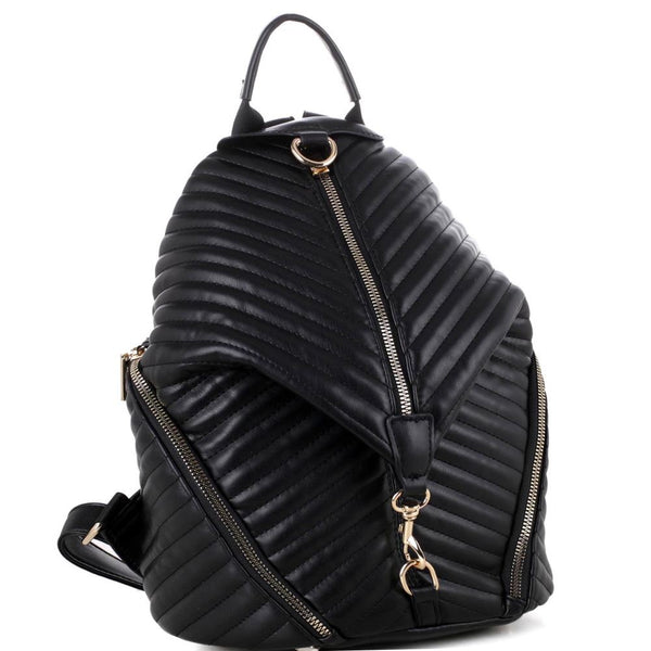 Chevron Quilted Multi-Pocket Fashion Backpack