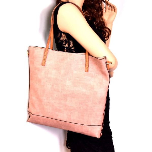 Two-Tone PU Leather Textured 3 in 1 Tote purse and Wallet with Crossbody bag