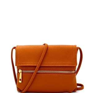 Multi-Pocket PU Leather Fold-over Cross Body