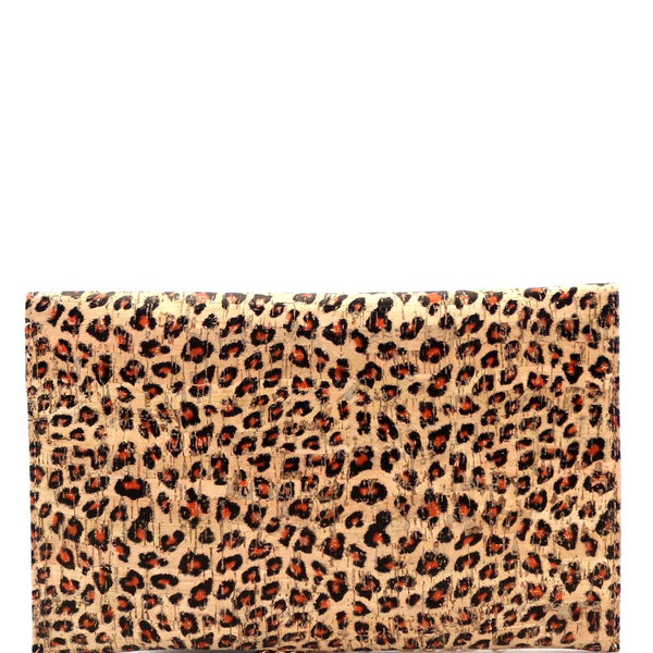 Leopard Print Cork Texture PU Leather Womens Envelope Clutch Crossbody Bag with Chain Strap