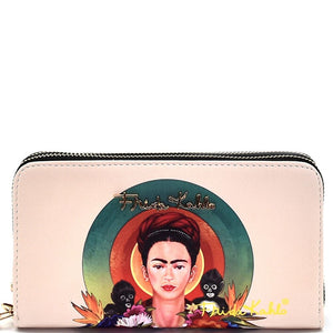 Authentic Frida Kahlo with Monkeys Double Zipper Wristlet Wallet
