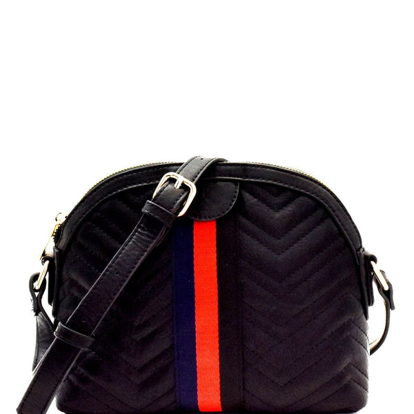 Color Block Stripe Accent Chevron Quilted Shoulder Bag Crossbody