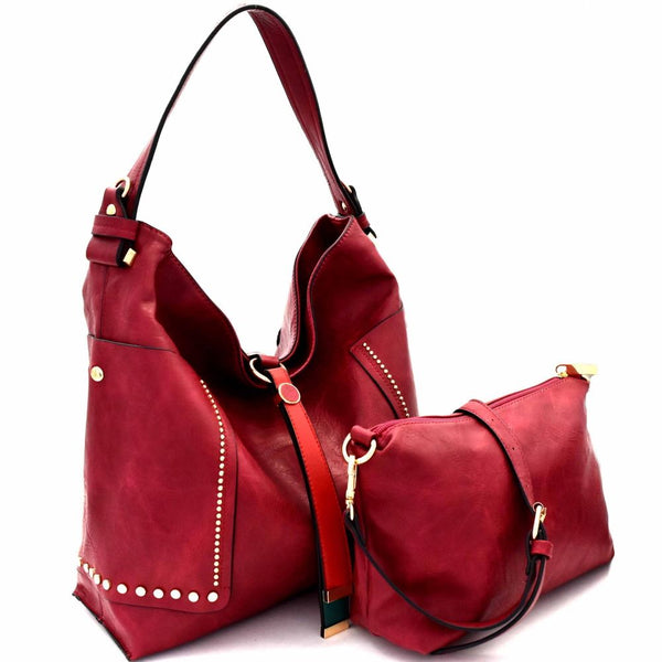 Color Block PU Leather String Accent 2 in 1 Hobo Purse with Crossbody Bag