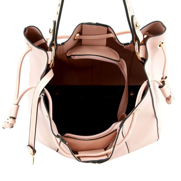 Stitch Accent 3 in 1 Drawstring Bucket Satchel Purse with Crossbody SET