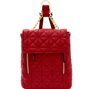 Chain Accent Quilted Fashion Backpack