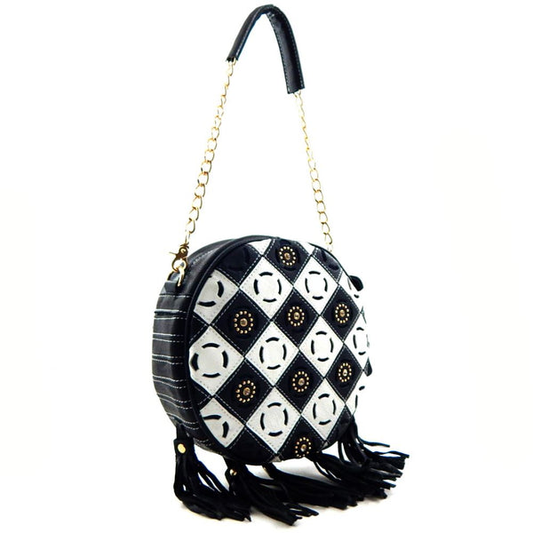 Fringed Tassel Genuine Leather Round Cross Body Bag
