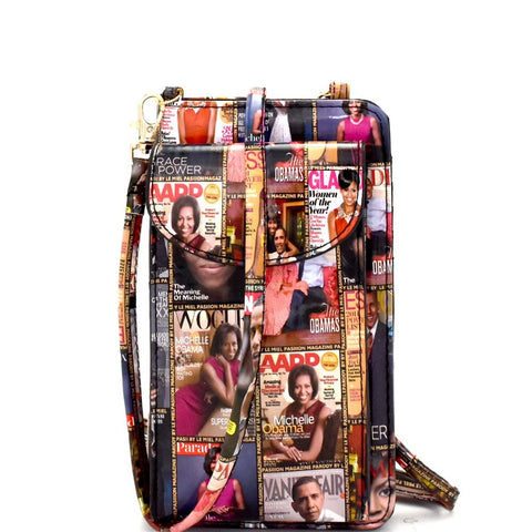 Michelle Obama Magazine Print Versatile Wallet Compartment Cellphone Holder Cross Body bag