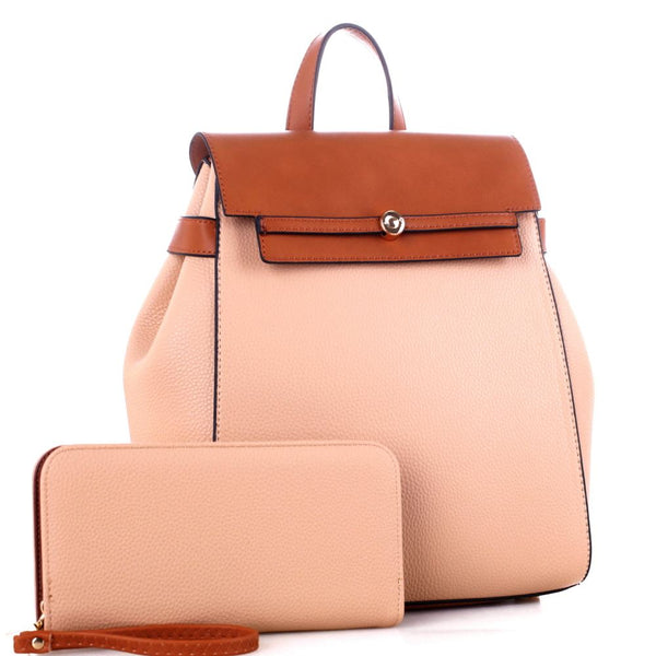 Two-Tone Flap Fashion PU Leather Backpack and Wallet SET