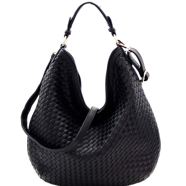 Woven PU Leather Front Single Strap 2-Way Hobo Purse
