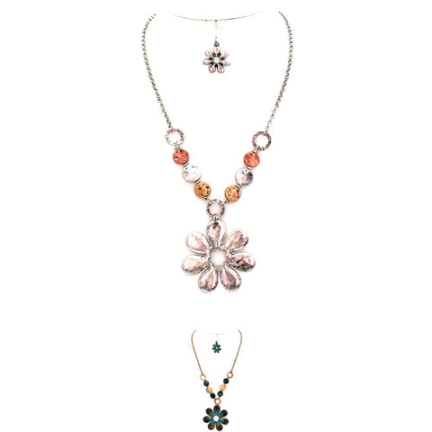 Multicolored Metal Bead Flower Pendant Chain Necklace SET
