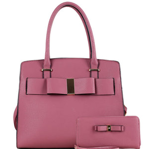 Bow Accent Structured Satchel Bag and Wallet SET