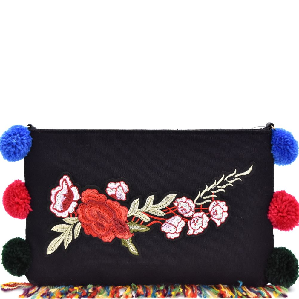 Colorful Puff Ball Accent Flower Embroidery Clutch
