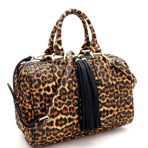 Tassel Accent Leopard Print 2-Way Boston Doctor Satchel Bag