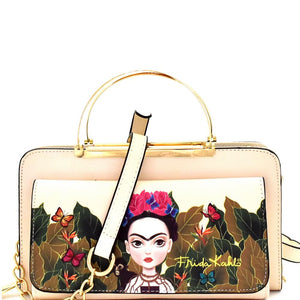 Authentic Cartoon Version Frida Kahlo Wallet Cross Body Bag