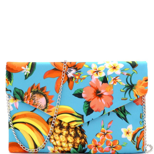 Tropical Print Nylon Envelope Clutch with Chain Strap