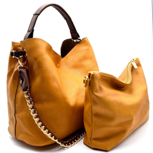 Removable Chain Strap Accent 2 in 1 PU Leather Hobo Bag with Crossbody Pouch Purse
