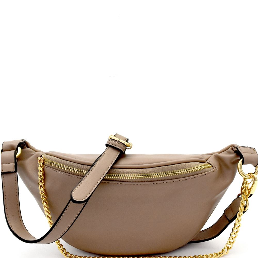 Chain Accent Fashion Fanny Pack Sling Bag